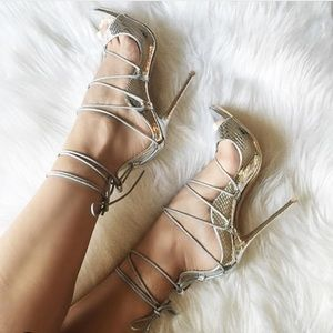 Silver Faux snake skin lace up sandals